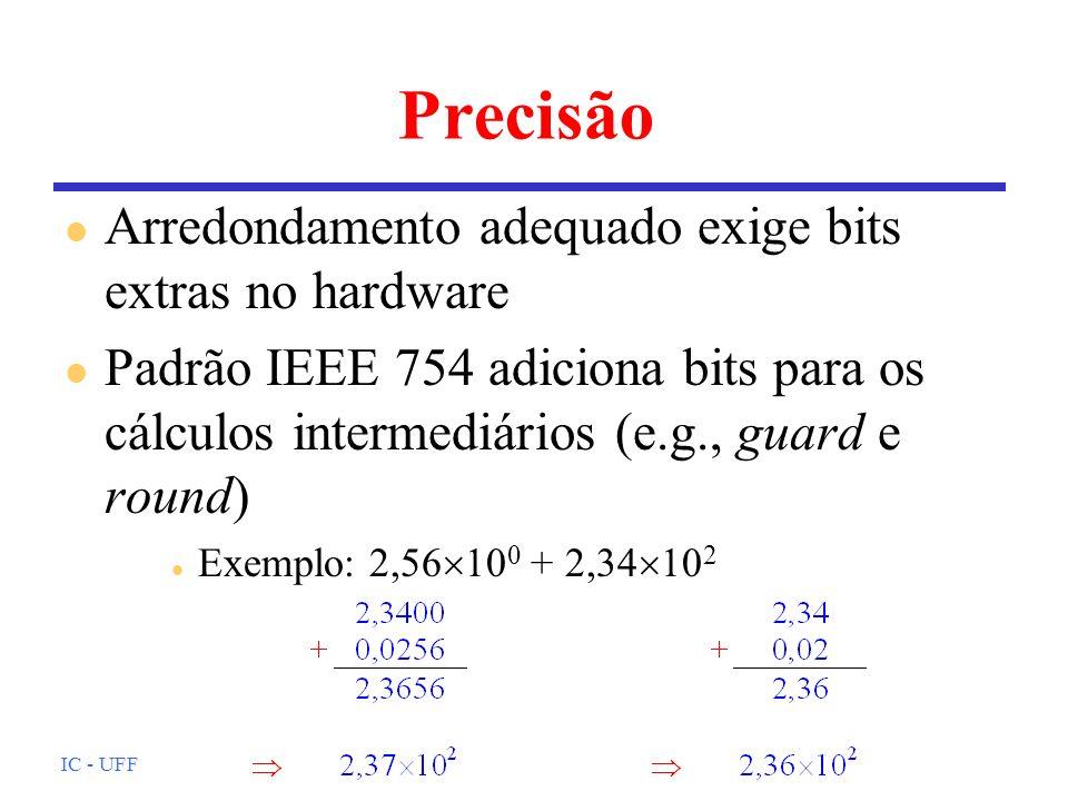 Precisão Arredondamento adequado exige bits extras no hardware