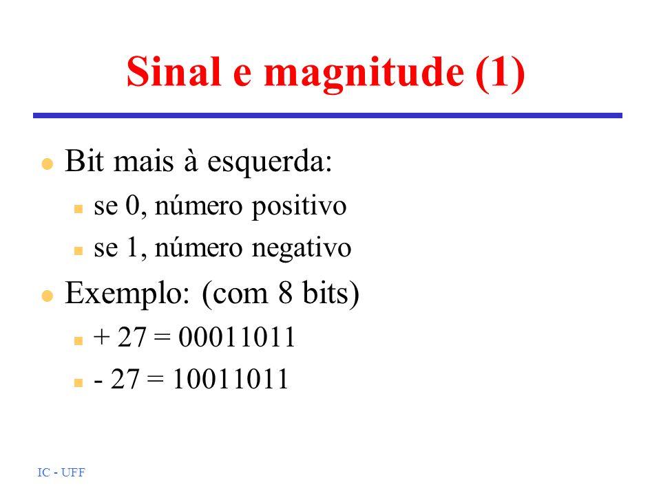 Sinal e magnitude (1) Bit mais à esquerda: Exemplo: (com 8 bits)