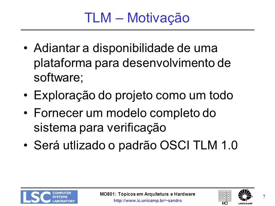 TLM – Motivação Adiantar a disponibilidade de uma plataforma para desenvolvimento de software; Exploração do projeto como um todo.