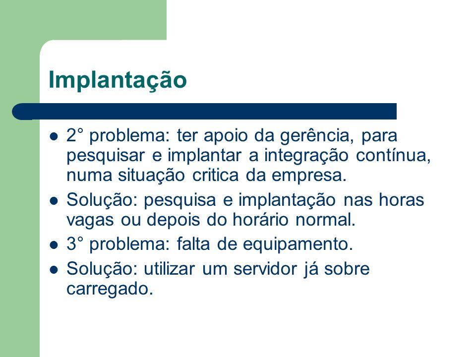 Implantação 2° problema: ter apoio da gerência, para pesquisar e implantar a integração contínua, numa situação critica da empresa.