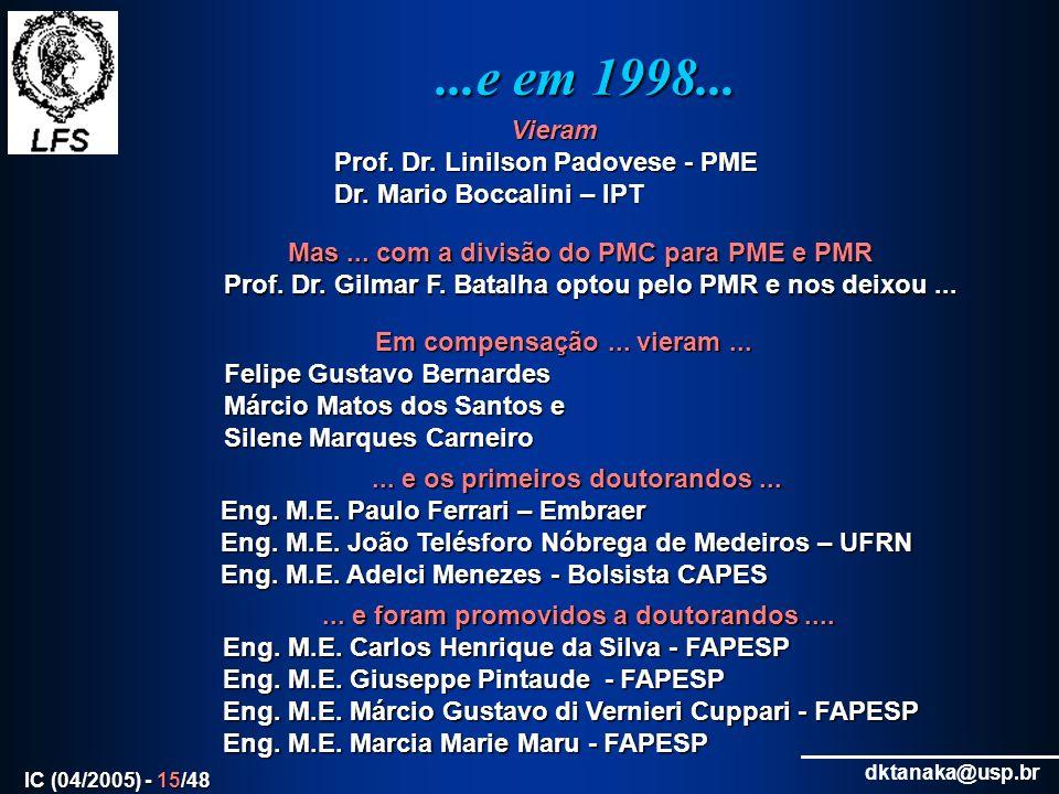 ...e em 1998... Vieram Prof. Dr. Linilson Padovese - PME