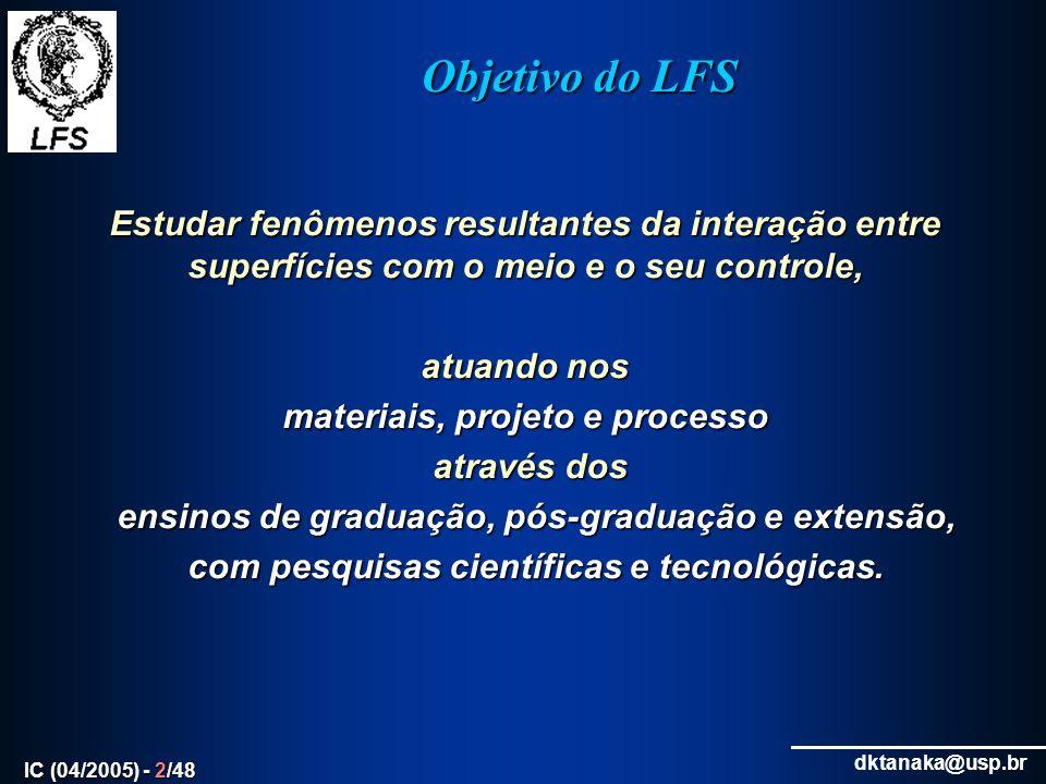 Objetivo do LFS Estudar fenômenos resultantes da interação entre superfícies com o meio e o seu controle,