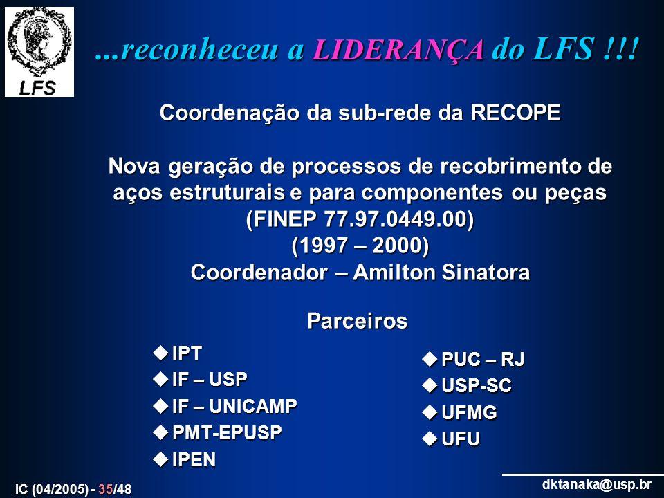 ...reconheceu a LIDERANÇA do LFS !!!