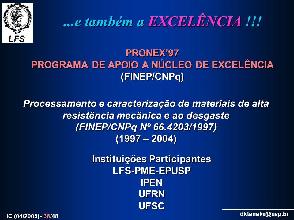 PROGRAMA DE APOIO A NÚCLEO DE EXCELÊNCIA Instituições Participantes