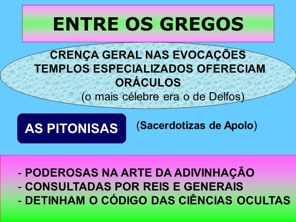 CRENÇA GERAL NAS EVOCAÇÕES TEMPLOS ESPECIALIZADOS OFERECIAM