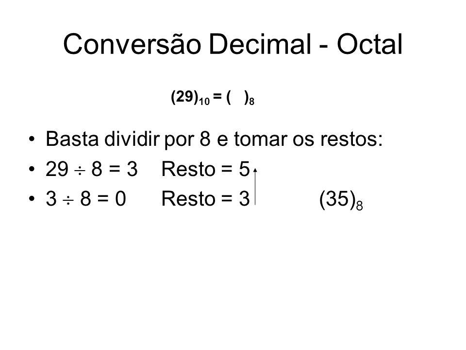 Conversão Decimal - Octal
