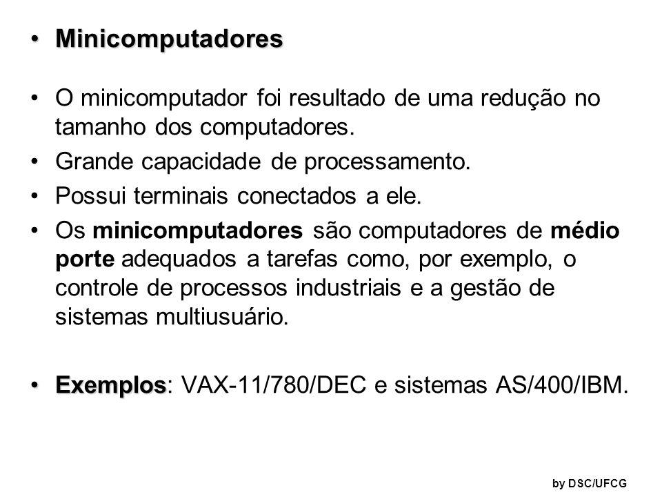 Minicomputadores O minicomputador foi resultado de uma redução no tamanho dos computadores. Grande capacidade de processamento.