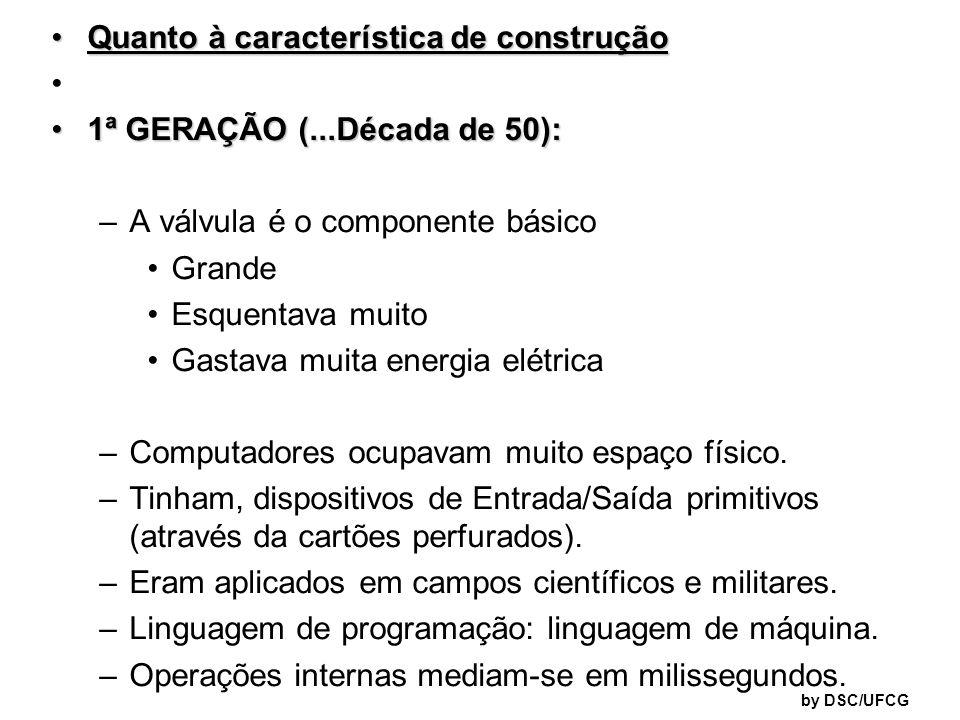 Quanto à característica de construção 1ª GERAÇÃO (...Década de 50):