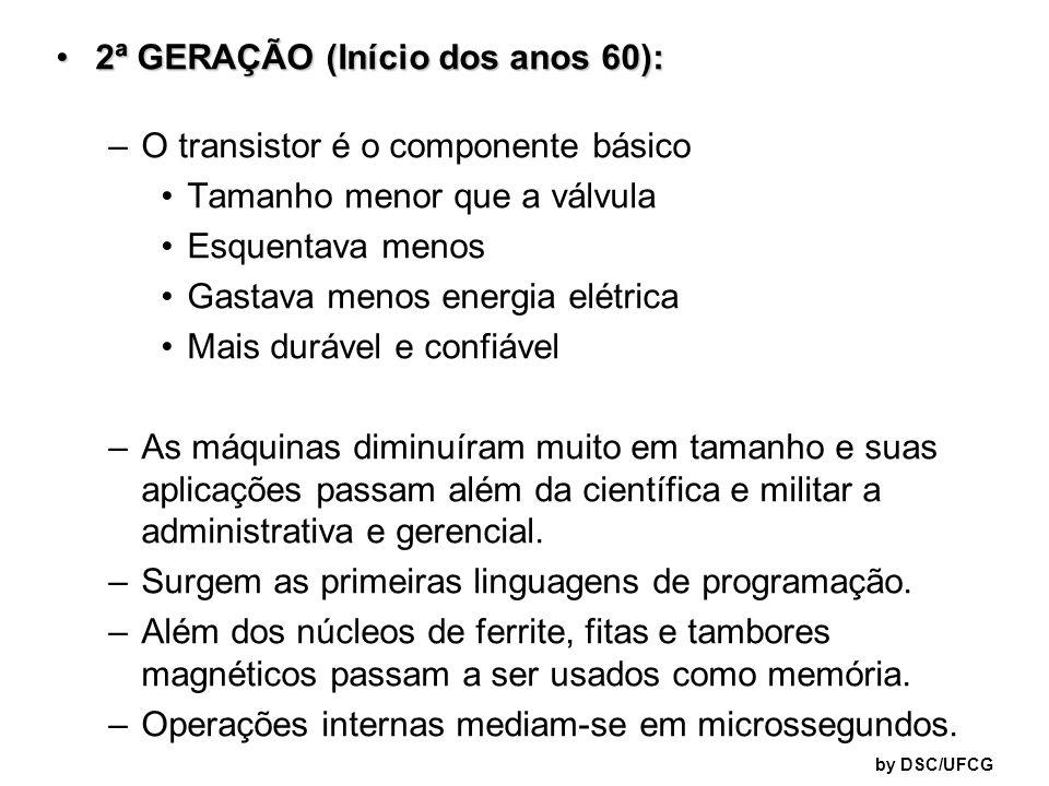 2ª GERAÇÃO (Início dos anos 60): O transistor é o componente básico