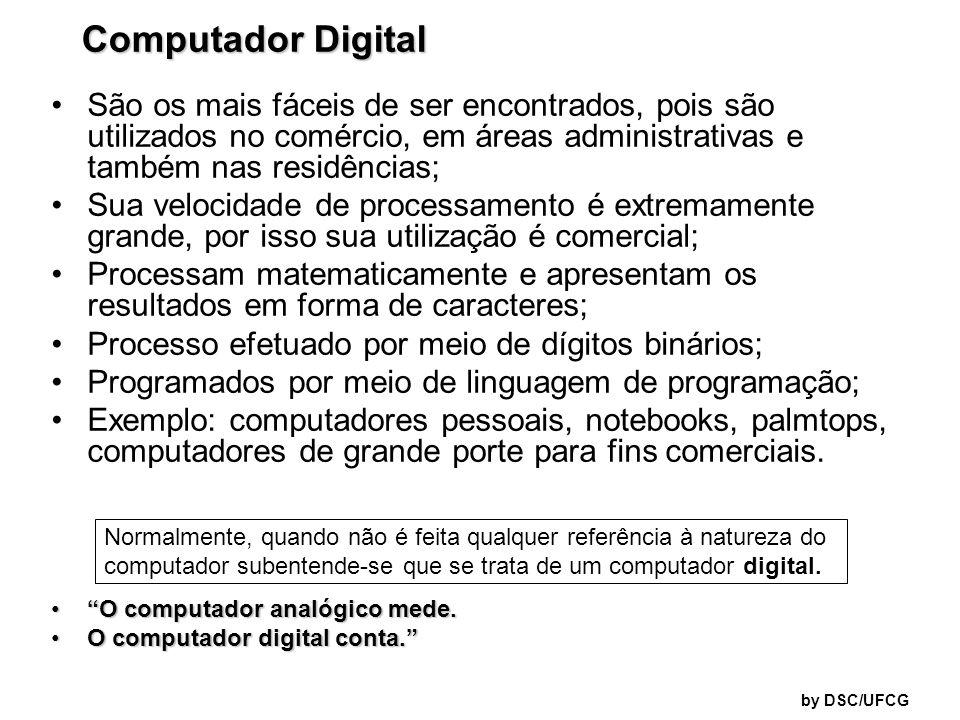 Computador Digital São os mais fáceis de ser encontrados, pois são utilizados no comércio, em áreas administrativas e também nas residências;