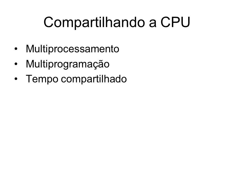 Compartilhando a CPU Multiprocessamento Multiprogramação