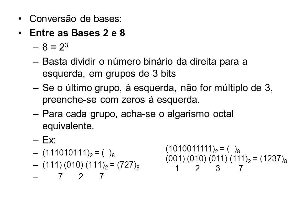 Para cada grupo, acha-se o algarismo octal equivalente. Ex: