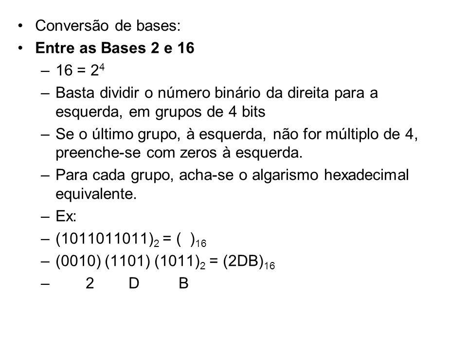 Conversão de bases: Entre as Bases 2 e 16. 16 = 24. Basta dividir o número binário da direita para a esquerda, em grupos de 4 bits.