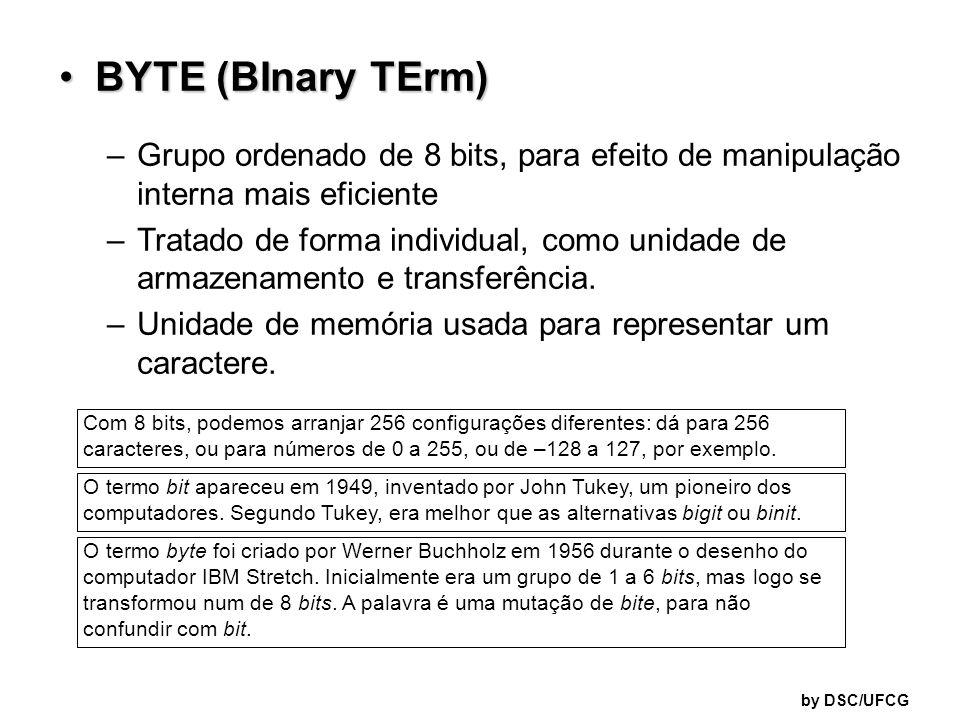 BYTE (BInary TErm) Grupo ordenado de 8 bits, para efeito de manipulação interna mais eficiente.