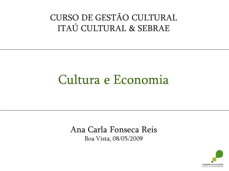 CURSO DE GESTÃO CULTURAL ITAÚ CULTURAL & SEBRAE Cultura e Economia Ana Carla Fonseca Reis Boa Vista, 08/05/2009