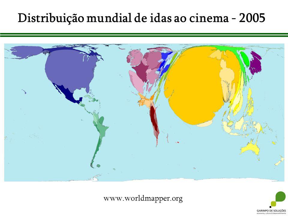Distribuição mundial de idas ao cinema - 2005