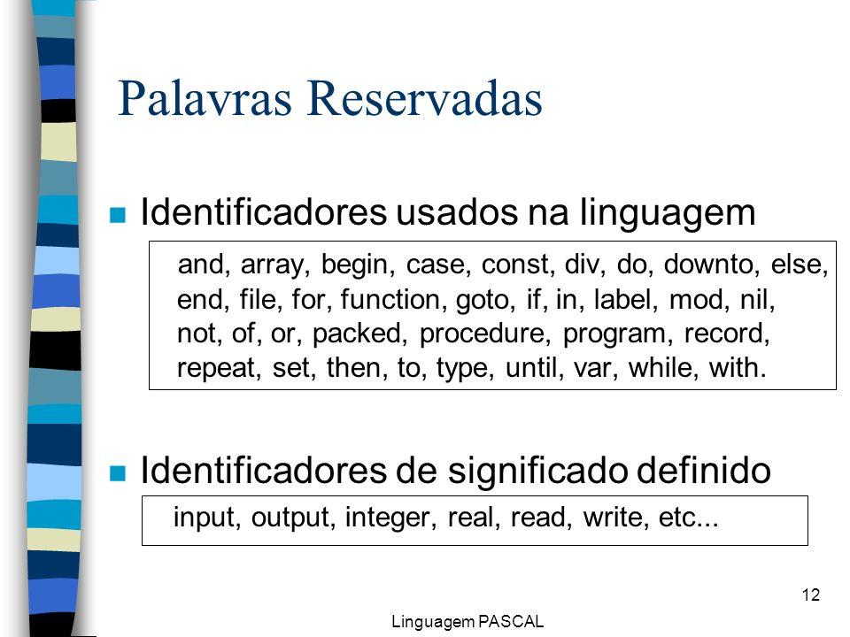 Palavras Reservadas Identificadores usados na linguagem