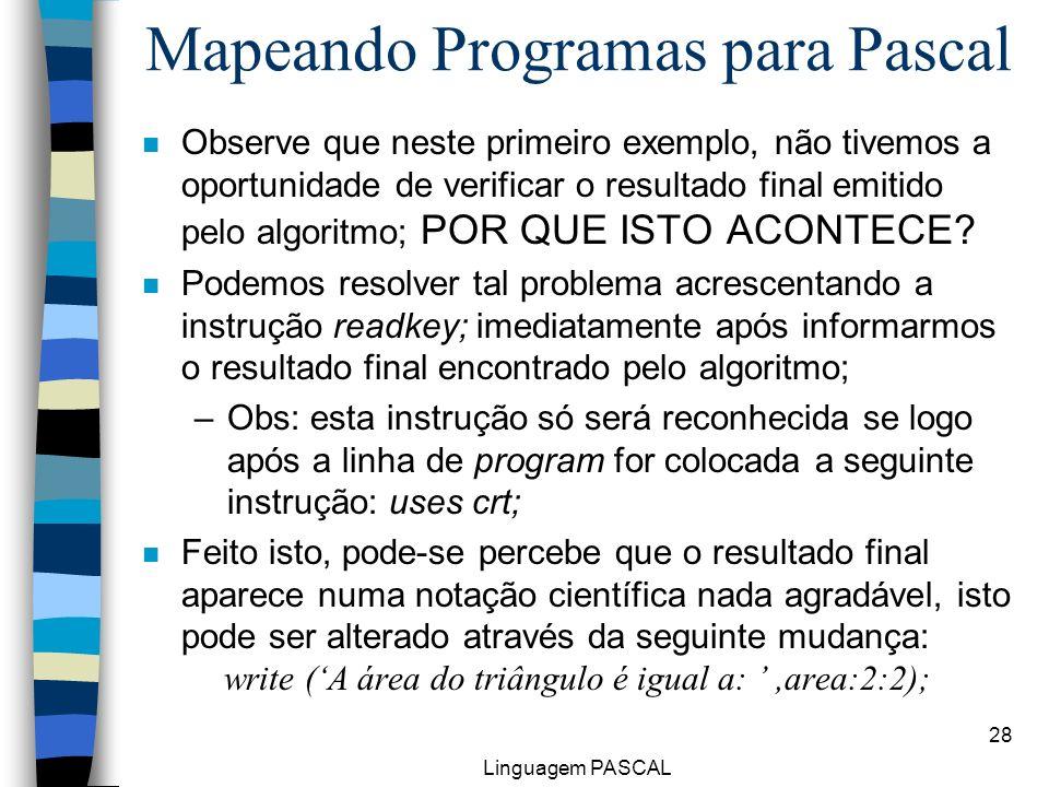 Mapeando Programas para Pascal
