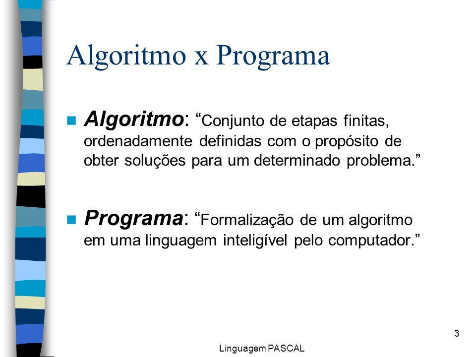 Algoritmo x Programa Algoritmo: Conjunto de etapas finitas, ordenadamente definidas com o propósito de obter soluções para um determinado problema.