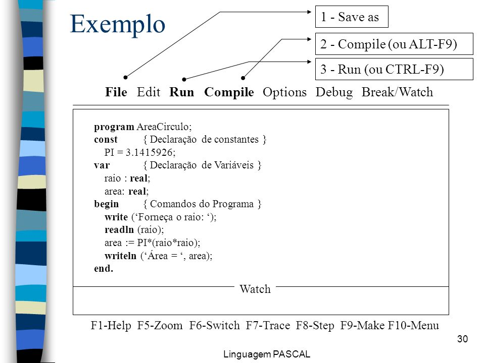 Exemplo 1 - Save as 2 - Compile (ou ALT-F9) 3 - Run (ou CTRL-F9)