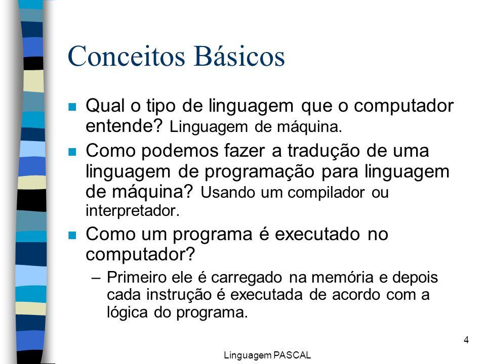 Conceitos Básicos Qual o tipo de linguagem que o computador entende Linguagem de máquina.