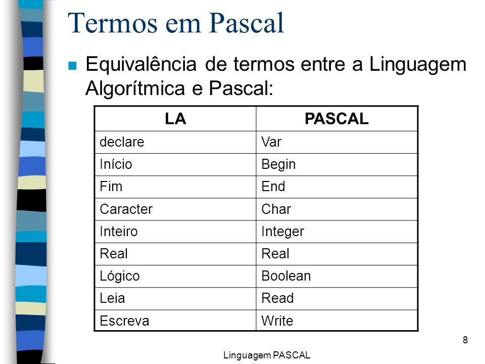 Termos em Pascal Equivalência de termos entre a Linguagem Algorítmica e Pascal: LA. PASCAL. declare.
