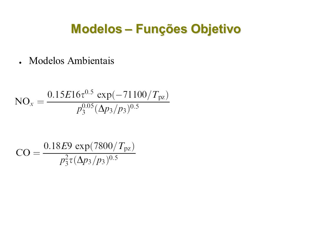 Modelos – Funções Objetivo