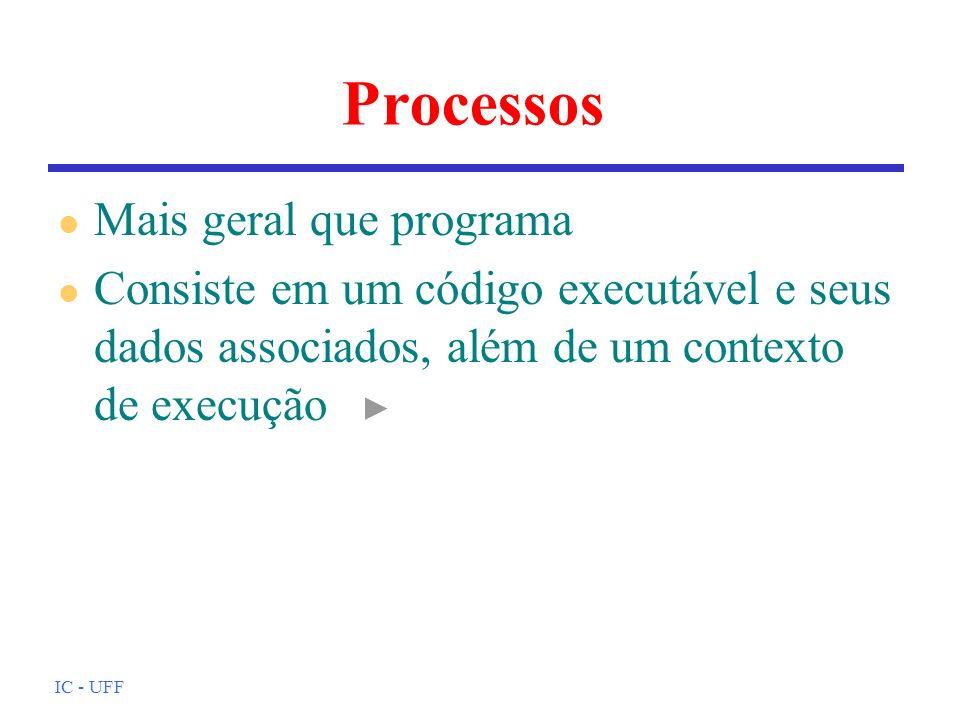 Processos Mais geral que programa