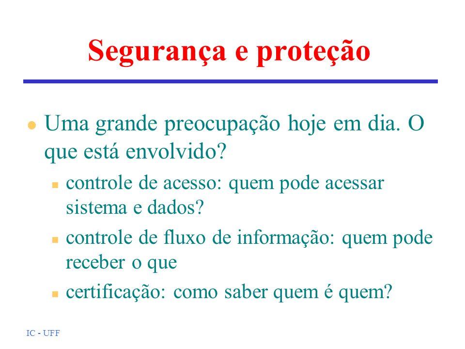 Segurança e proteção Uma grande preocupação hoje em dia. O que está envolvido controle de acesso: quem pode acessar sistema e dados