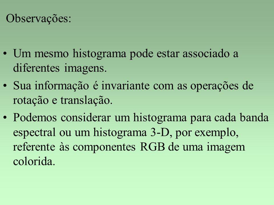Observações: Um mesmo histograma pode estar associado a diferentes imagens. Sua informação é invariante com as operações de rotação e translação.