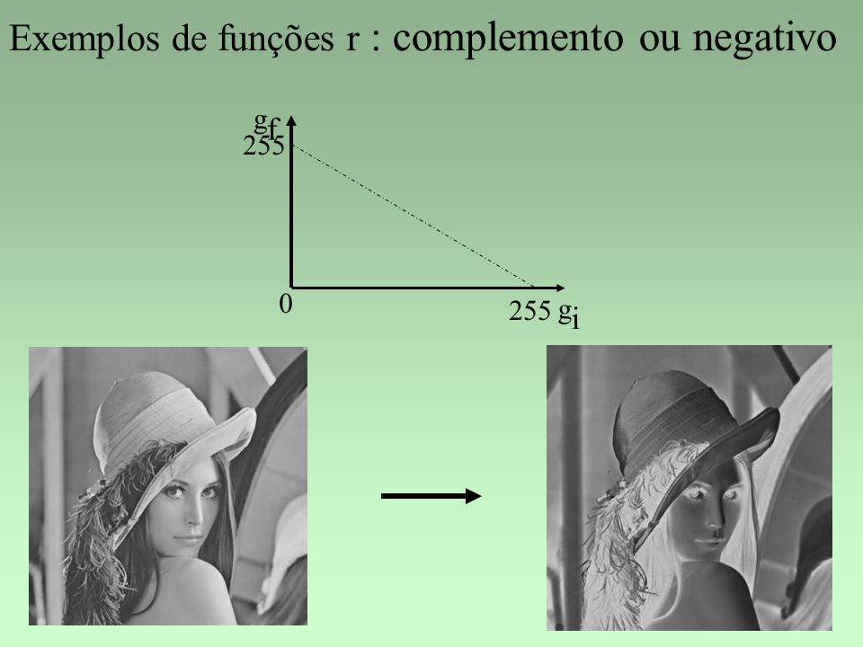 Exemplos de funções r : complemento ou negativo