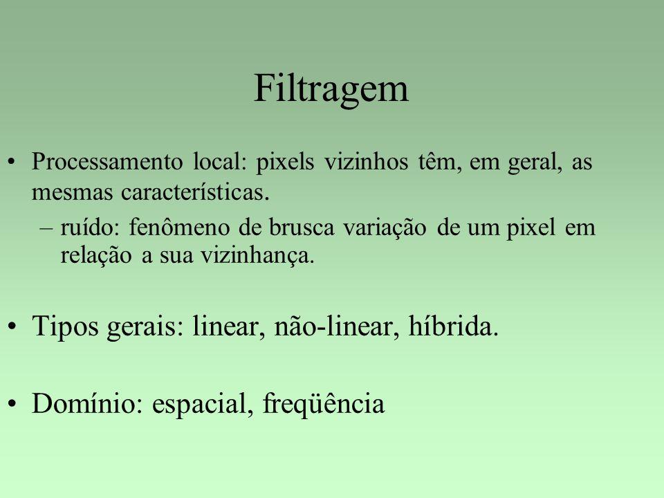 Filtragem Tipos gerais: linear, não-linear, híbrida.