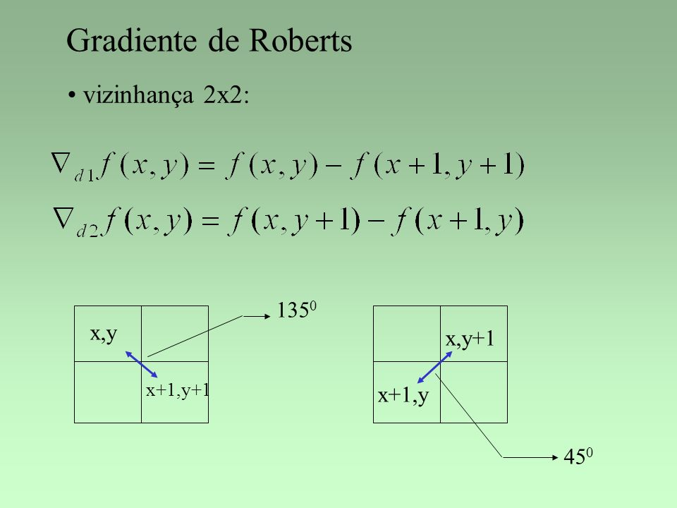 Gradiente de Roberts vizinhança 2x2: 1350 x,y x,y+1 x+1,y+1 x+1,y 450