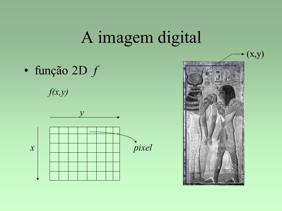 A imagem digital (x,y) função 2D f f(x,y) y x pixel