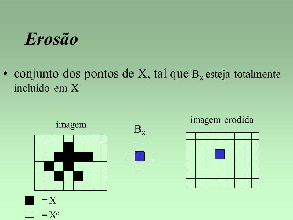 Erosão conjunto dos pontos de X, tal que Bx esteja totalmente incluído em X. imagem erodida. imagem.