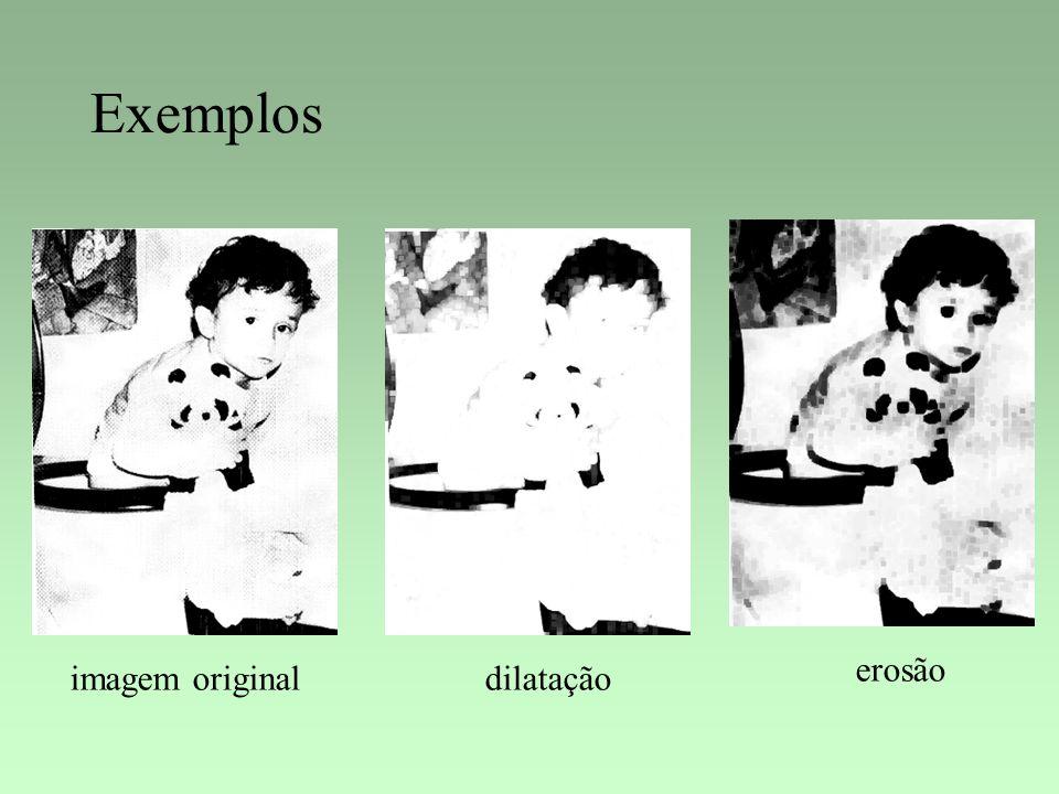 Exemplos erosão imagem original dilatação