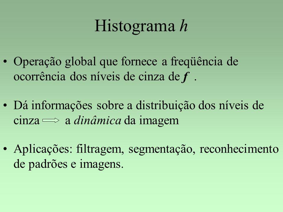 Histograma h Operação global que fornece a freqüência de ocorrência dos níveis de cinza de f .