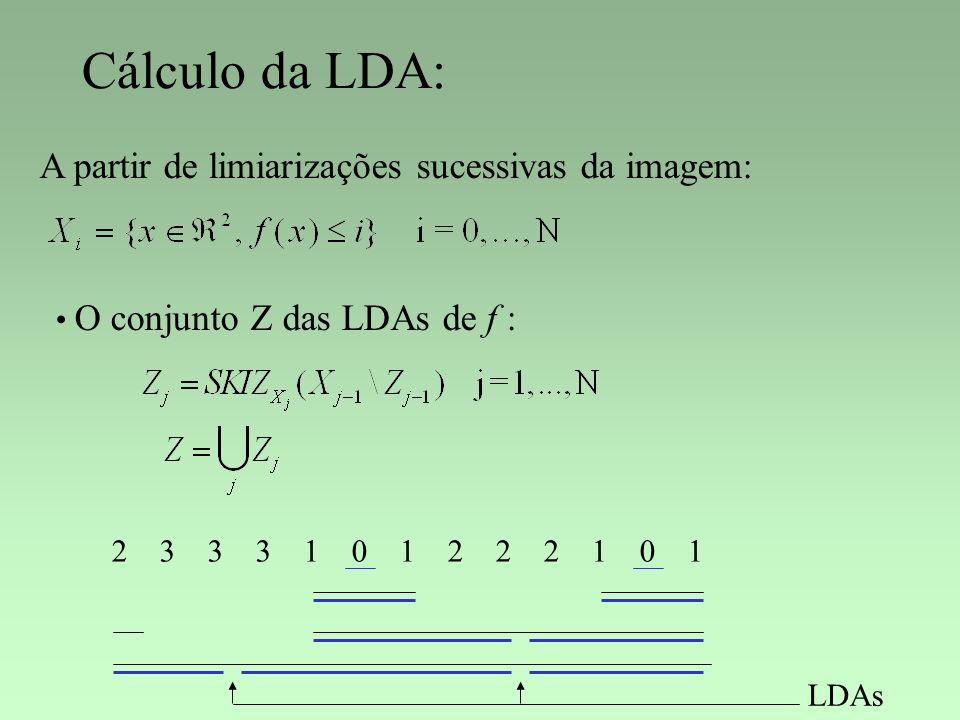 Cálculo da LDA: A partir de limiarizações sucessivas da imagem: