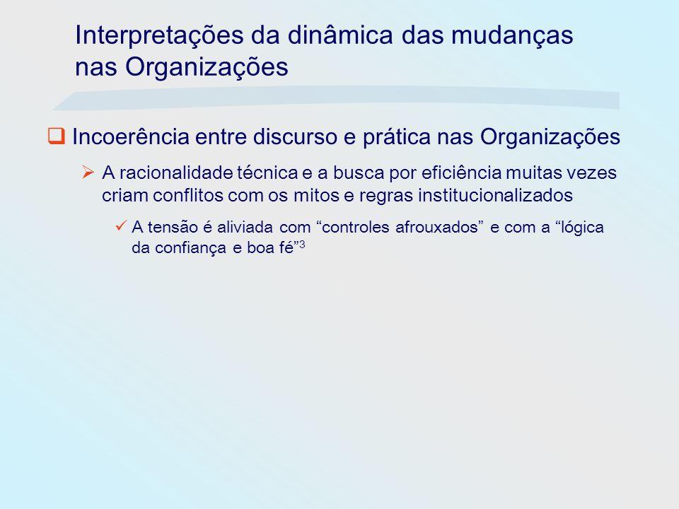 Interpretações da dinâmica das mudanças nas Organizações