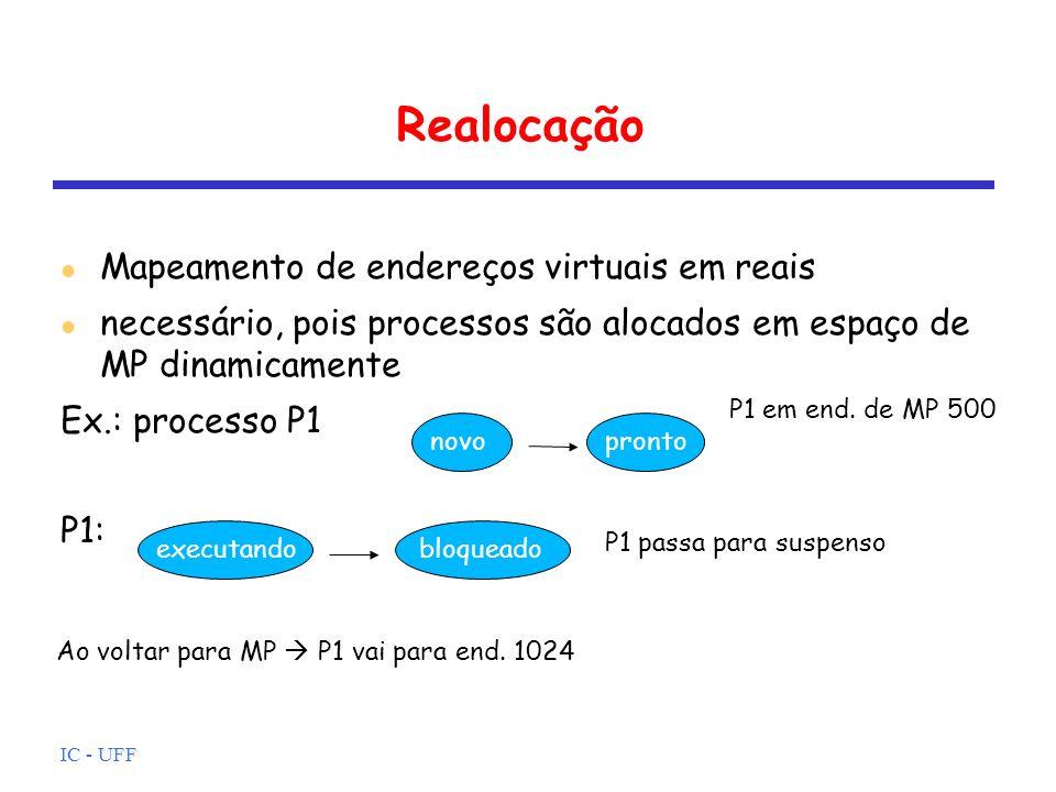 Realocação Mapeamento de endereços virtuais em reais