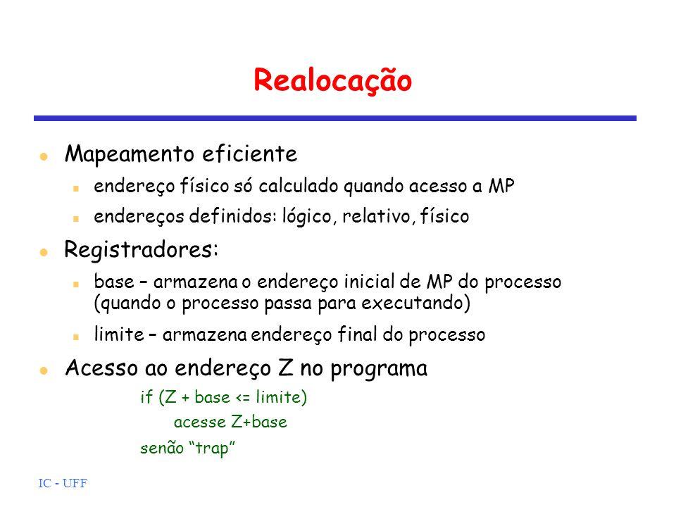 Realocação Mapeamento eficiente Registradores: