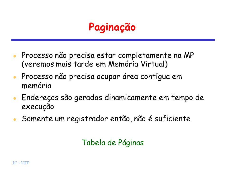 Paginação Processo não precisa estar completamente na MP (veremos mais tarde em Memória Virtual)