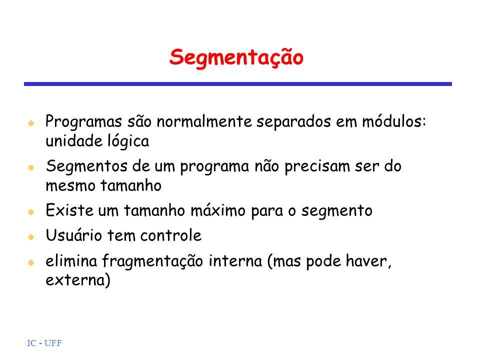 Segmentação Programas são normalmente separados em módulos: unidade lógica. Segmentos de um programa não precisam ser do mesmo tamanho.