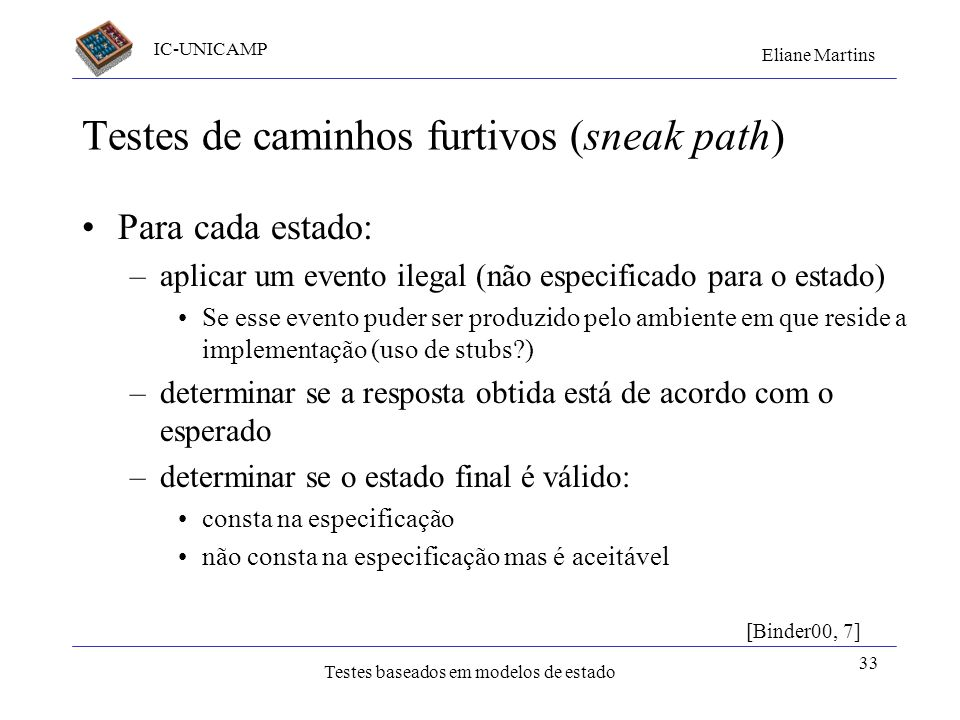 Testes de caminhos furtivos (sneak path)