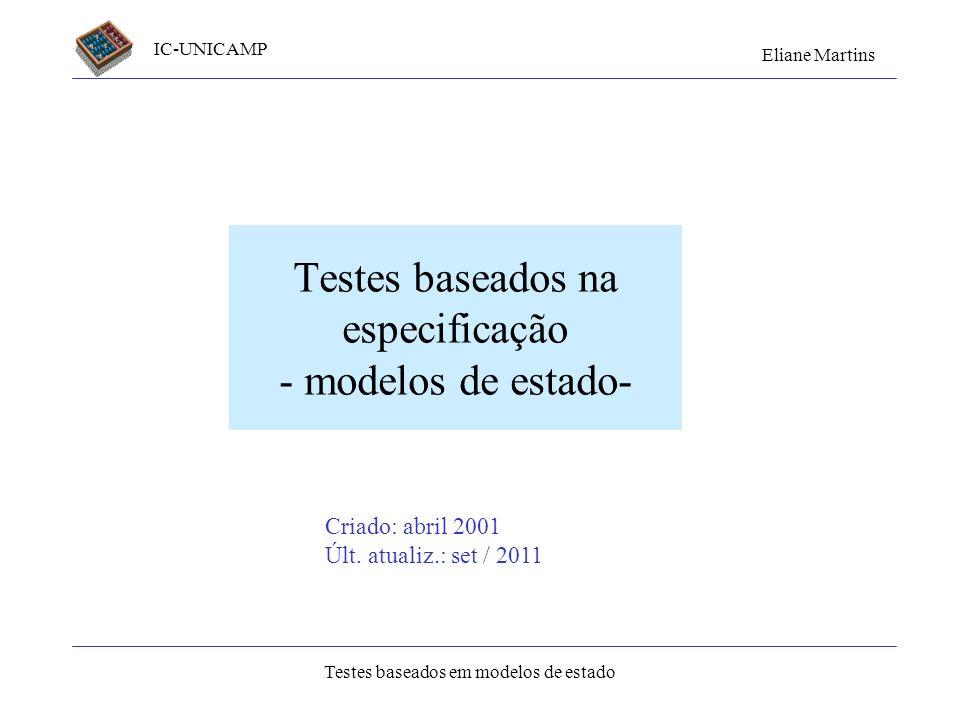 Testes baseados na especificação - modelos de estado-