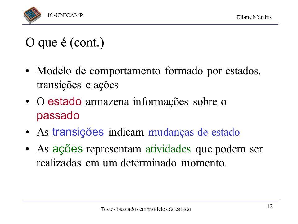 O que é (cont.) Modelo de comportamento formado por estados, transições e ações. O estado armazena informações sobre o passado.