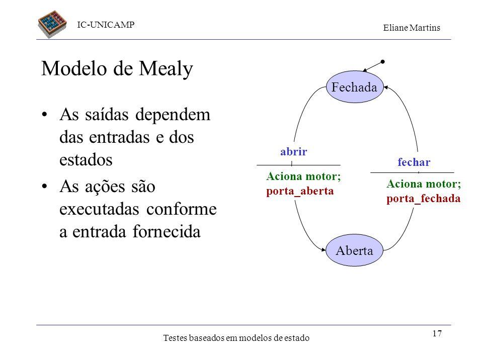 Modelo de Mealy As saídas dependem das entradas e dos estados