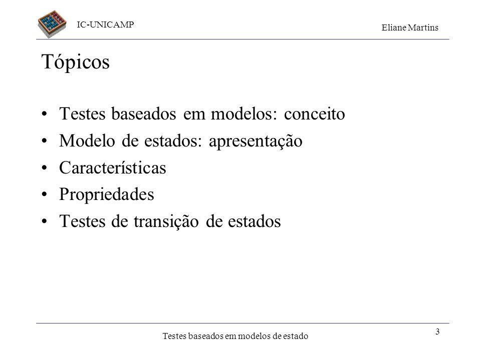 Tópicos Testes baseados em modelos: conceito