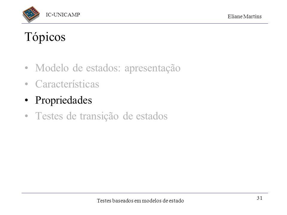 Tópicos Modelo de estados: apresentação Características Propriedades