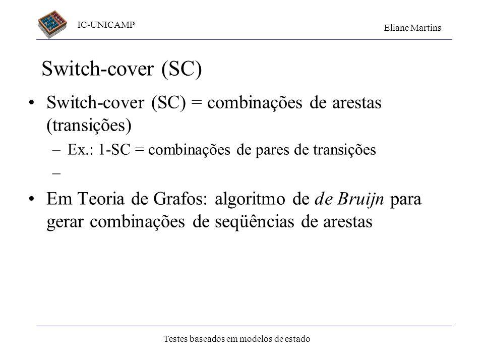 Switch-cover (SC)Switch-cover (SC) = combinações de arestas (transições) Ex.: 1-SC = combinações de pares de transições.
